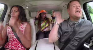 First Lady Michelle Obama and Missy Elliott at Carpool Karaoke