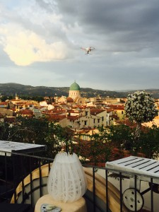 On the red roofs of Florence: a drone is in the air!