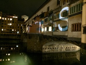 Lightness - the title of this videomapping project on Ponte Vecchio